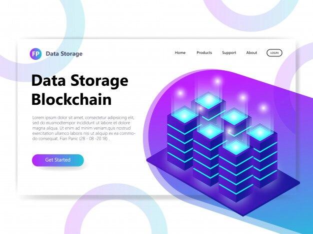 Data storage isometric illustration