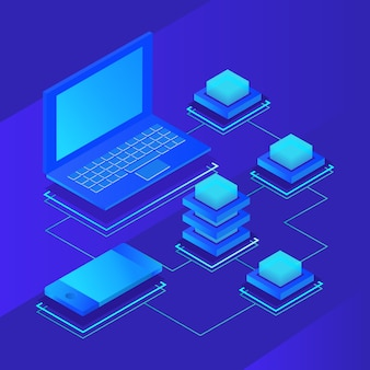Data storage servers, blockchain technology isometric concept. vector illustration