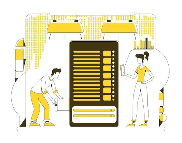 Data storage thin line concept illustration