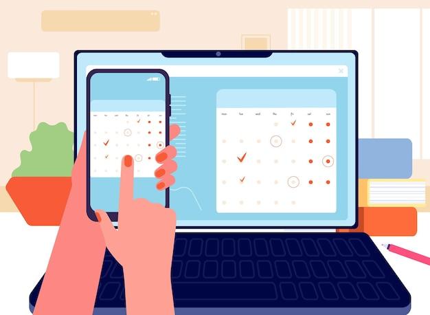 데이터 동기화. 플래너, 캘린더 및 할 일 목록. 일정, 시간 관리. 디지털 주최자, 전화에서 노트북 벡터 일러스트레이션으로 정보가 전송되었습니다. 스마트폰 데이터 동기화