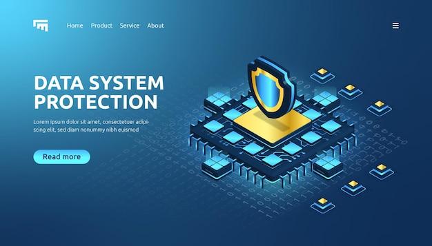 Изометрическая целевая страница защиты системы данных