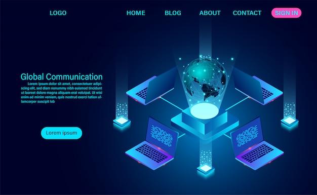 データ技術のバナー。世界規模の通信インターネットネットワークと地球上のデータ交換。