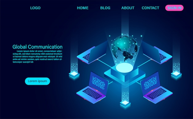 Data technology banner. global communication internet network around and data exchange over planet.