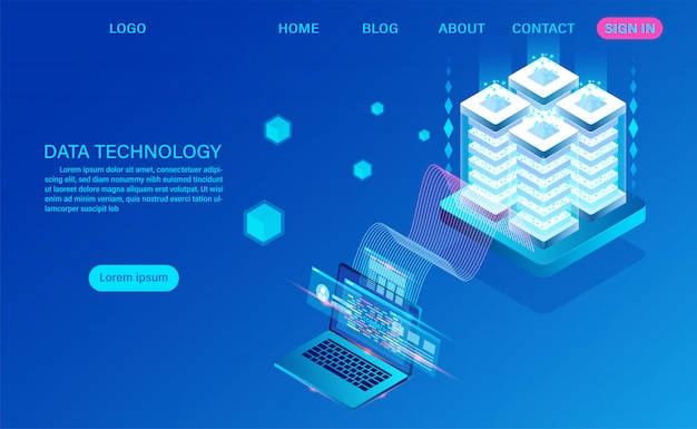 Data technology and big data processing isometric landing page