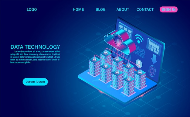 Data technology and cloud computing on computer concept. protects data from thefts data and hacker attacks. isometric flat design. vector illustration