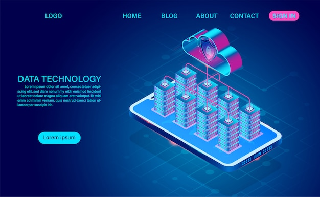 Data technology and cloud computing on mobile concept. protects data from thefts data and hacker attacks. isometric flat design. vector illustration