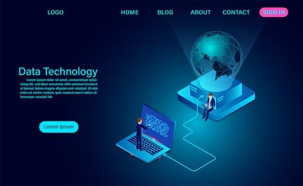 Технология данных. компьютерная связь, интернет-сеть вокруг и обмен данными по планете.