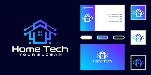 Data technology house logo and business card