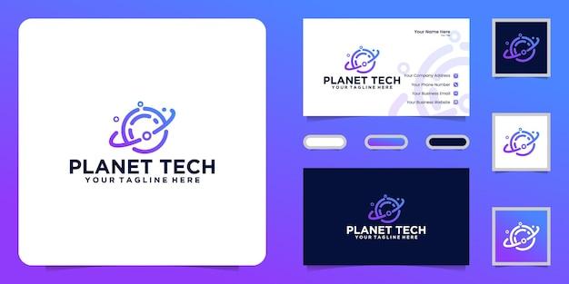 データテクノロジーの惑星のロゴと名刺のインスピレーション
