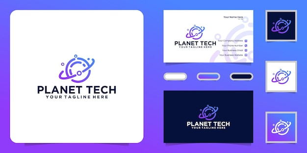 Data technology planet logo and business card inspiration