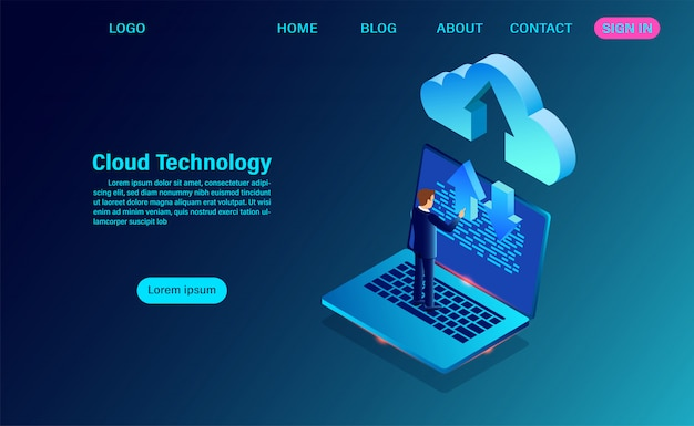 Data technology with exchange of information between the computer and the cloud landing page