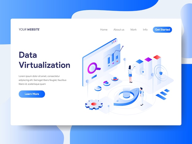 Data virtualization isometric for website page