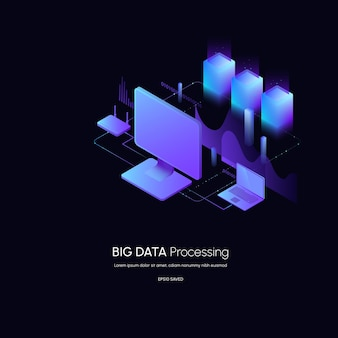 Data visualization concept data analytics platform 3d isometric vector illustration