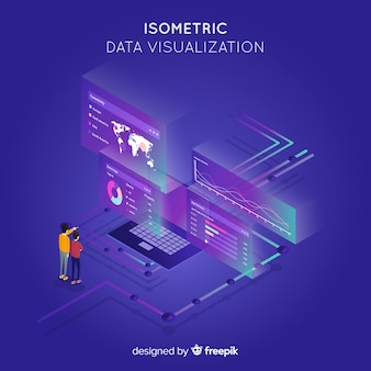 Data visualization concept isometric background