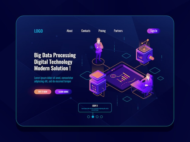 Data visualization concept isometric banner, data analysis, datacenter, dark neon