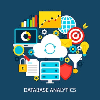 Database analytics flat concept. poster design vector illustration. set of big data objects.