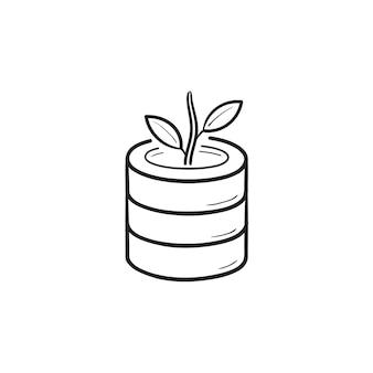 データベースと成長中の植物の手描きのアウトライン落書きアイコン。データを拡張し、サーバーデータの概念を増やす