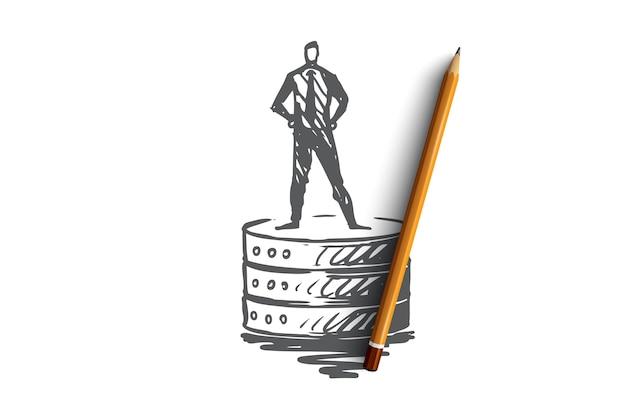 データベース、バックアップ、サーバー、ソフトウェア、ツールの概念。データ機器の概念スケッチに立っている手描きの男。
