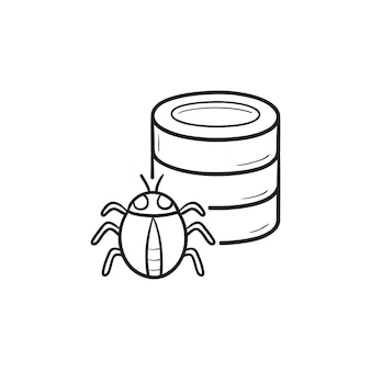 データベースのバグ手描きのアウトライン落書きアイコン。コンピュータウイルス攻撃、マルウェア、データベースセキュリティの概念。白い背景の上の印刷、ウェブ、モバイル、インフォグラフィックのベクトルスケッチイラスト。