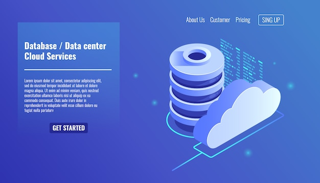 Database and datacenter icon, cloud services concept, file backup and saving
