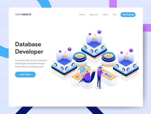 Database developer isometric for website page