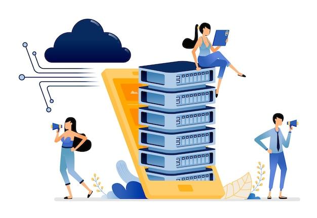 클라우드 데이터 네트워크에 연결된 스마트폰에서 데이터베이스 하드웨어