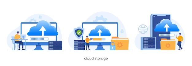 데이터베이스 보호 개념, 데이터 센터, 파일 관리, 클라우드 스토리지 평면 그림 벡터