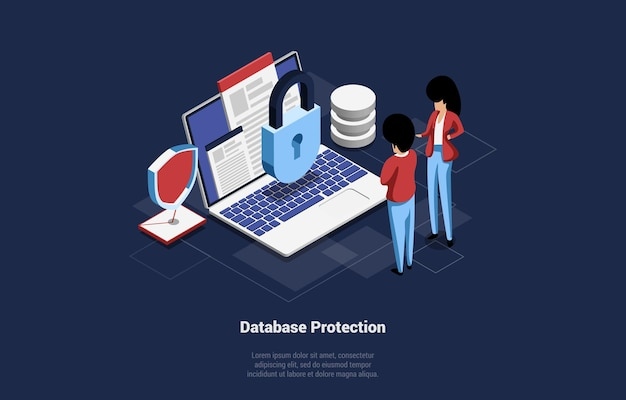 Database protection   illustration. isometric cartoon composition of big laptop with lock, male and female characters standing near. infographic sign, lock mail object. lorem ipsum writing.