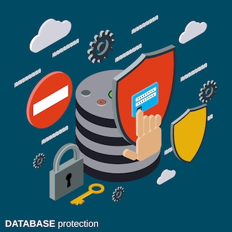 Database protection isometric vector concept illustration