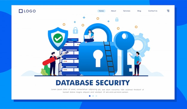 Database security landing page website illustration vector design