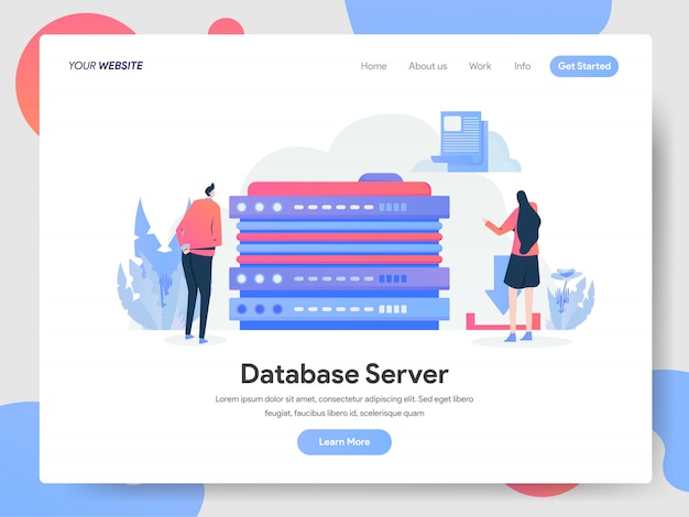 Database server banner of landing page