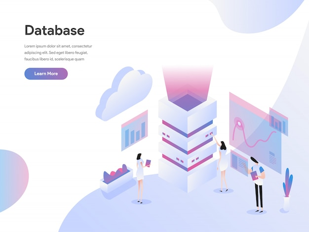 Database server isometric illustration concept