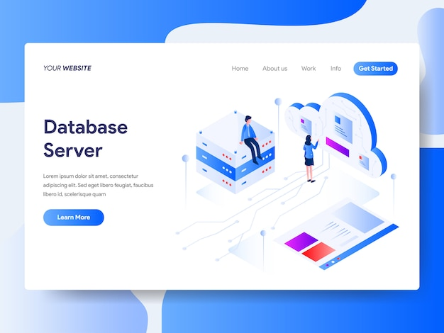 Database server isometric for website page