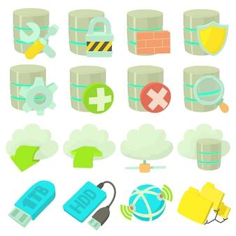 Database symbols icons set