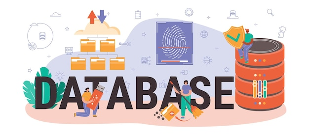 Database typographic header. manager working at data center. data protection, backup and restore. modern computer technology, it profession. flat vector illustration