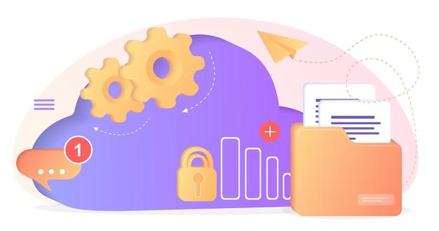 클라우드 서버가 있는 데이터베이스 데이터 세트 프로세스 분류 데이터베이스회사 프로세스 개발