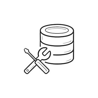 レンチとドライバーの手描きのアウトライン落書きアイコンとデータベース。データベースのメンテナンスの概念