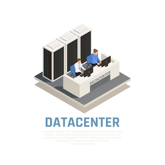 Datacenter concept with connection software and hardware symbols isometric