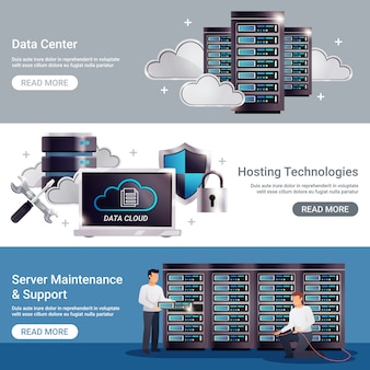 Datacenter horizontal banner set