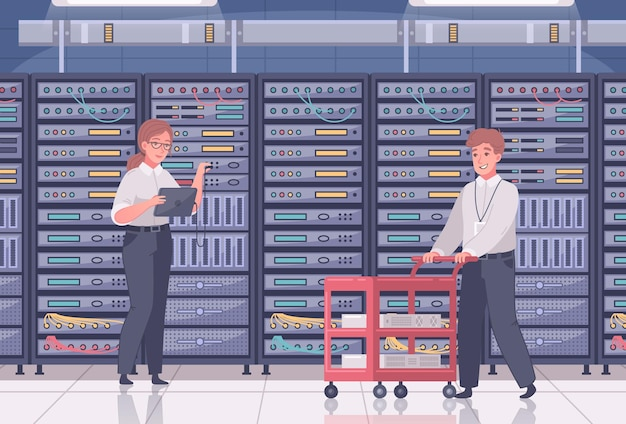 Datacenter illustration with indoor view of room with rows of servers and human workers