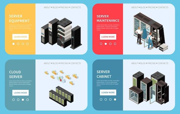 データセンターの等尺性カラーバナーセットのランディングページ