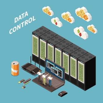 Datacenter isometric colored concept with data control headline and abstract server room illustration
