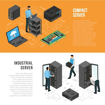 Datacenter isometric horizontal banners template