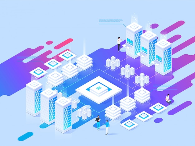Datacenter isometric vector illustration