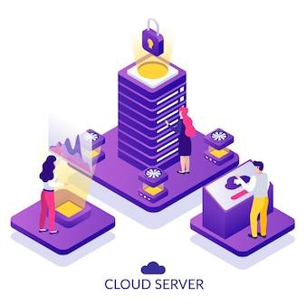 Иллюстрация изометрической композиции безопасного облачного сервера центра обработки данных