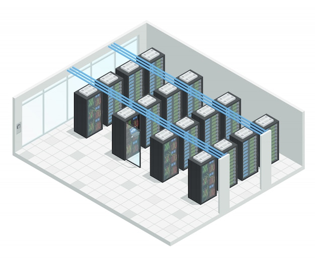 Datacenter server cloud computing isometric interior composition
