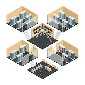 Datacenter server cloud computing isometric multistore composition