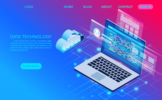 Технология облачного хранения в серверной комнате центра обработки данных и обработка больших данных защита безопасности данных. цифровая информация. изометрическим. мультфильм