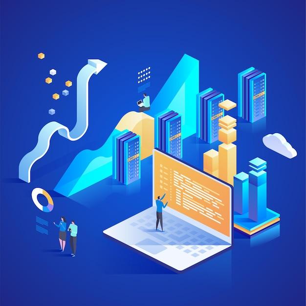Услуги центров обработки данных. подключение к интернет-центру обработки данных, администратор концепции веб-хостинга. изометрическая иллюстрация для целевой страницы, веб-дизайна, баннера и презентации.