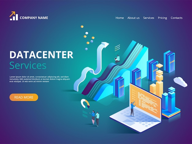 Datacenter services. internet data center connection, administrator of web hosting concept.  isometric illustration for landing page, web design, banner and presentation.